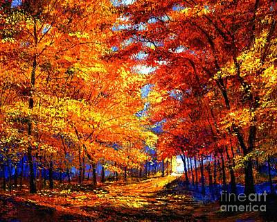 Fallen Leaves Painting - Golden Sunlight by David Lloyd Glover
