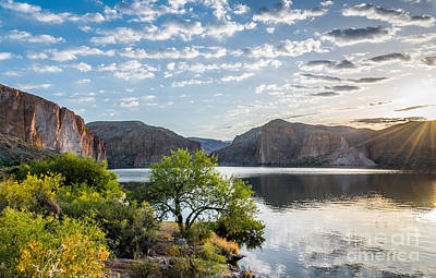 Photograph - Golden Sunrise - Canyon Lake by Leo Bounds