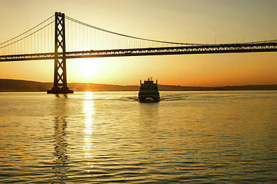 Painting - Golden Sunrise Ferry Ride Under The Bay Bridge In San Francisco by Georgia Mizuleva