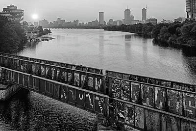 Photograph - Golden Sunrise Over Boston From The Bu Bridge Graffiti Train Tracks Boston Ma Black And White by Toby McGuire
