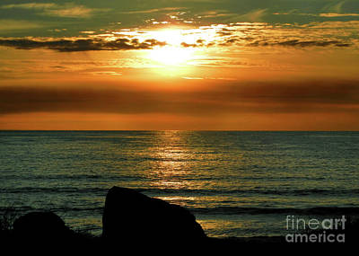 Art Print featuring the photograph Golden Sunset At The Beach IIi by Mariola Bitner