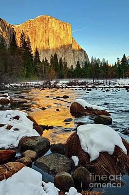 Golden Sunset - El Capitan In Yosemite National Park. Art Print