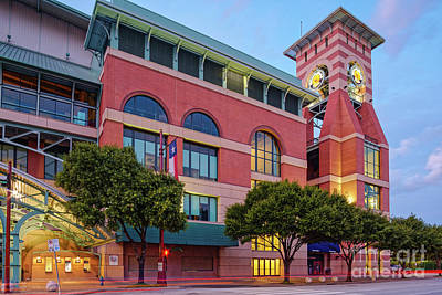 Moody Trees - Golden Sunset Glow on the Facade of Minute Maid Park - Downtown Houston Harris County Texas by Silvio Ligutti