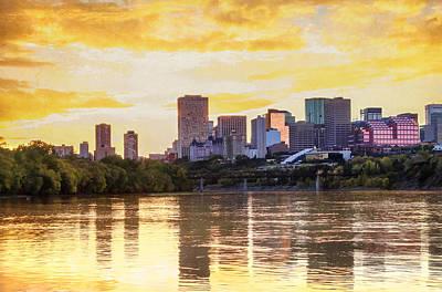Golden Sunset In Edmonton Alberta Art Print