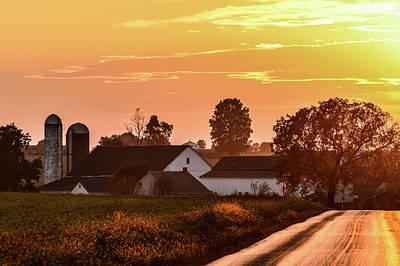 Photograph - Golden Sunset On Amish Farm by Tana Reiff