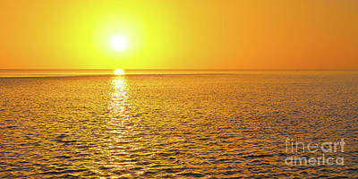 Golden Sunset On The Gulf Of Mexico Art Print