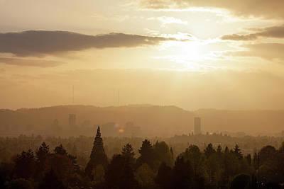 Golden Sunset Over Portland Skyline Art Print by David Gn