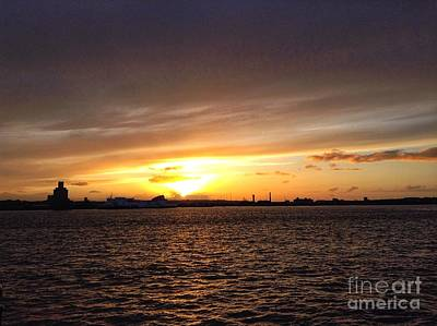Photograph - Golden Sunset Over The Mersey by Joan-Violet Stretch