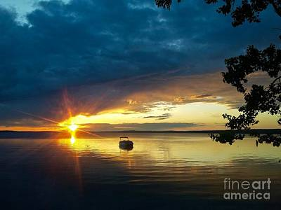 Photograph - Golden Sunset  Reflected  by Linda Bianic