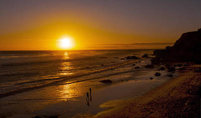 Photograph - Golden Sunset Walk On Malibu Beach by Jerry Cowart