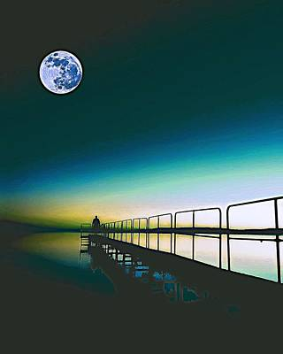Festival Painting - Golden Sunset With Full Moon 2 by Celestial Images