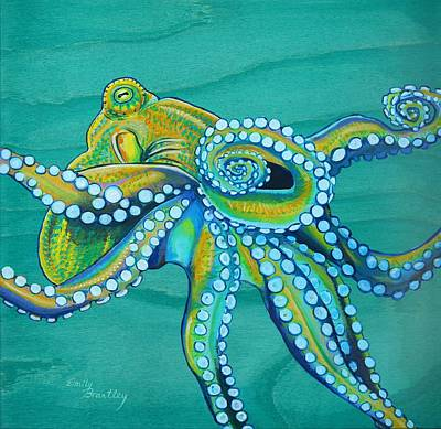 Scuba Painting - Golden Tako by Emily Brantley
