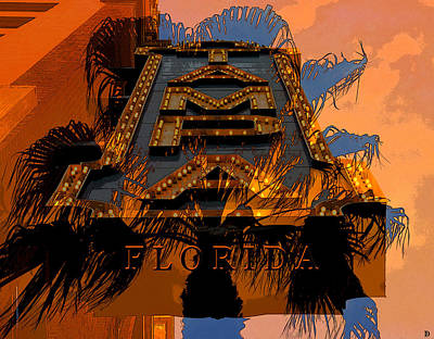 Mixed Media - Golden Tampa Florida by David Lee Thompson