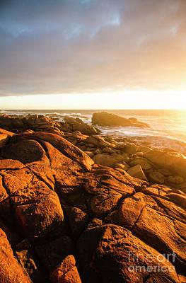 Sundown Photograph - Golden Tasmania Coastline by Jorgo Photography - Wall Art Gallery
