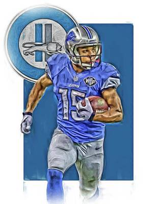 Mixed Media - Golden Tate Detroit Lions Oil Art by Joe Hamilton