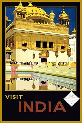 India Painting - Golden Temple Amritsar India - Vintage Travel Advertising Poster by Studio Grafiikka