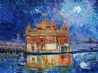 Golden Temple At Night Original by Sarabjit Singh