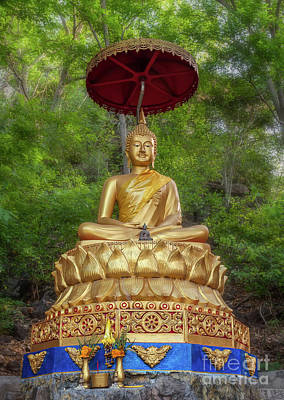 Candle Stick Digital Art - Golden Thai Buddha by Adrian Evans