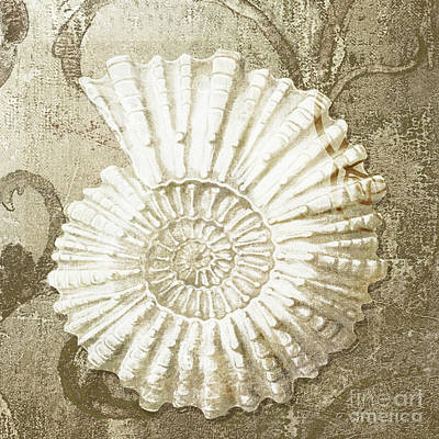 Clam Painting - Golden Tides II by Mindy Sommers