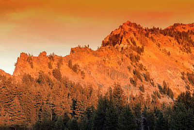 Photograph - Golden Trail Crater Lake Rim Sunset by Frank Wilson