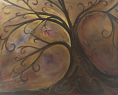 Tree Roots Painting - Golden Tree Of Life by Karen Ahuja