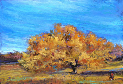 Pastel - Golden Tree by Susan Jenkins