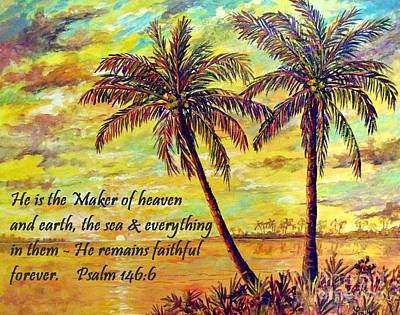 Painting - Golden Tropics With Scripture by Lou Ann Bagnall