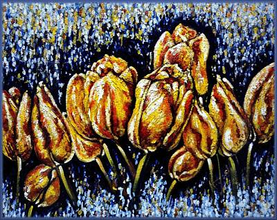 Painting - Golden Tulips by Harsh Malik