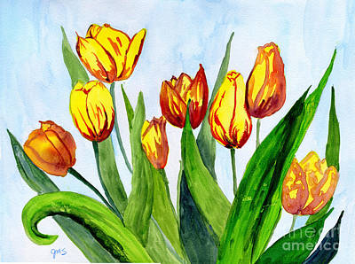 Painting - Golden Tulips by Julia Stubbe