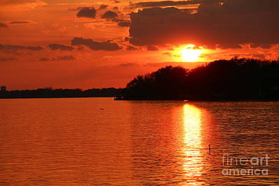 Photograph - Golden Upper Niagara River Sunset  by Tony Lee