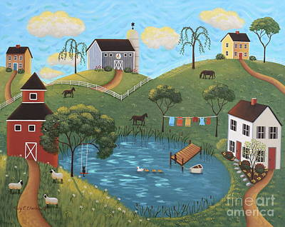 Round Barn Painting - Golden Valley by Mary Charles