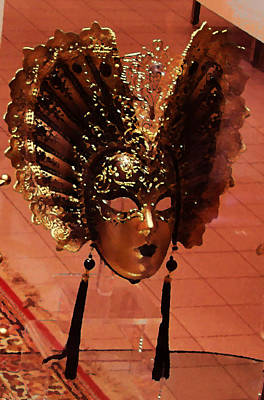Photograph - Golden Venetian Mask by Mary Capriole