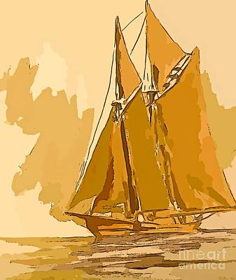 Tall Ship Mixed Media - Golden Voyage by John Malone