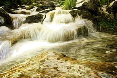 Golden Waterfall Art Print by Carol Crisafi
