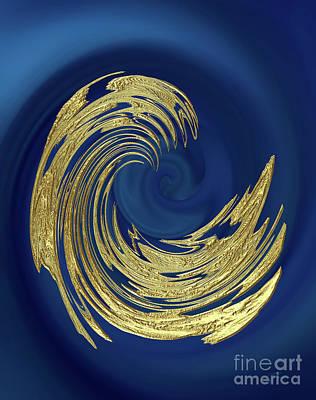 Digital Art - Golden Wave Abstract by Gabriele Pomykaj
