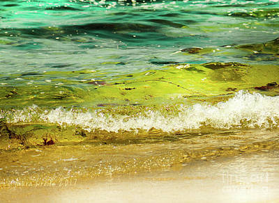 Photograph - Golden Waves At Pacific Grove California Near Lover's Point by Artist and Photographer Laura Wrede