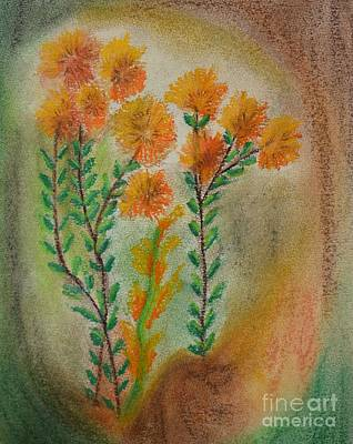Pastel - Golden Wildflowers by Maria Urso