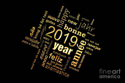 Happy New Year Wall Art - Photograph - Golden Word Cloud New Year Card by Delphimages Photo Creations