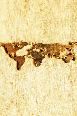 Necklace Photograph - Golden World Continents by Jorgo Photography - Wall Art Gallery