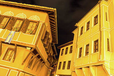 Photograph - Golden Yellow Night - Elegant Revival Facades And Oriel Windows by Georgia Mizuleva