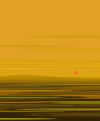 Digital Art - Golden Yellow Ripples by Val Arie