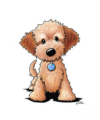 Puppy Drawing - Goldendoodle Puppy by Kim Niles