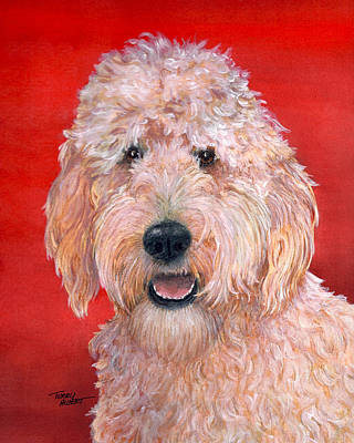 Painting - Goldendoodle by Terry Albert