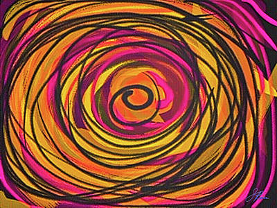 Digital Art - Goldenrod Abstract Curves  by Joan Reese