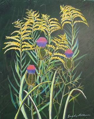 Painting - Goldenrod In Summer by Art Nomad Sandra  Hansen