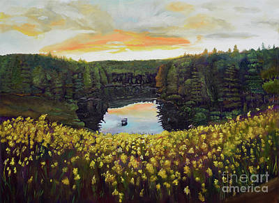 Painting - Goldenrods On Davenport Lake-ellijay, Ga  by Jan Dappen