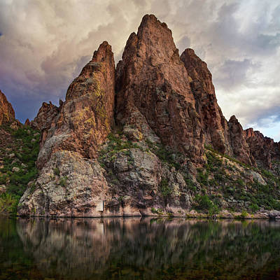 Photograph - Goldfield Mountains Reflections And Storm Clouds by Dave Dilli