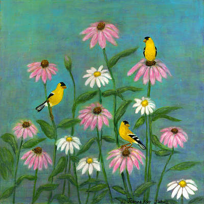 Goldfinch And Cone Flowers Art Print