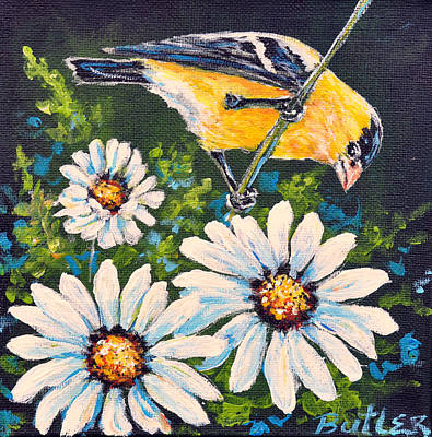 Painting - Goldfinch And Daisy by Gail Butler