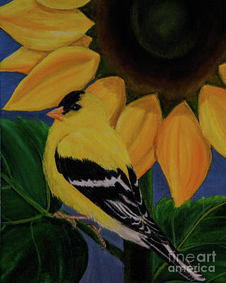 Painting - Goldfinch And Sunflower by Jane Axman